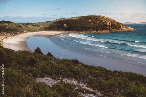 Canvas Print Scenic view of sea by mountains against sky at Wilsons Promontory National Park