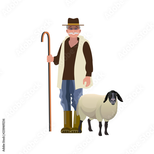 Carta da parati Shepherd with a sheep