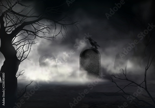 Wall mural Frightening Halloween realistic vector background with dried trees silhouettes and black crow sitting on sloping gravestone on ancient cemetery illustration. Scary night graveyard covered fog or mist