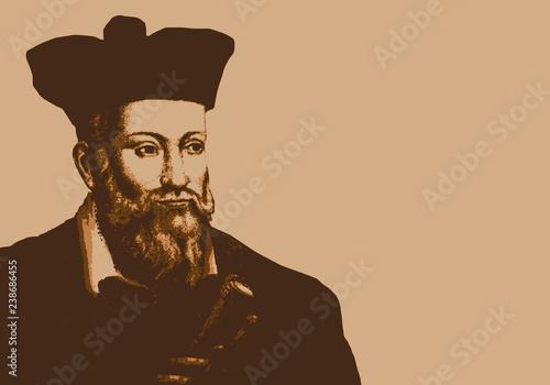 Leinwand Poster Portrait de Nostradamus, astrologue français du 16ème siècle, célèbre pour ses p