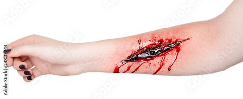 Fotografia cut wound blood on hand cut sutsyd vein professional makeup flows blood