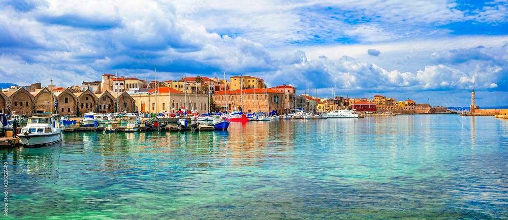 Piękna seria Grecji - panaorama malowniczego starego miasta Chania. Wyspa Kreta <span>plik: #238720480   autor: Freesurf</span>