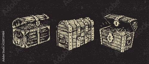 Fotografie, Obraz Illustrated treasure chests