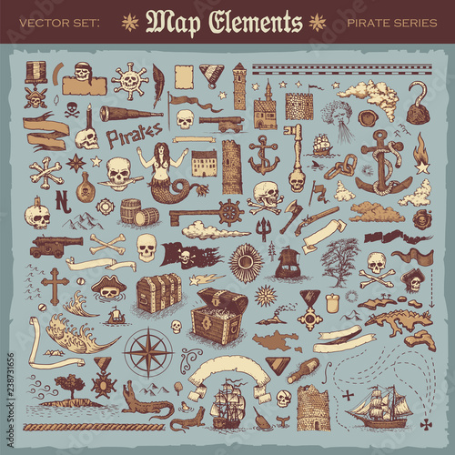 Canvas Print Vintage map elements and items