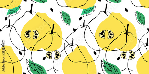 Tableau sur Toile Seamless pattern with outline drawing of apple quince