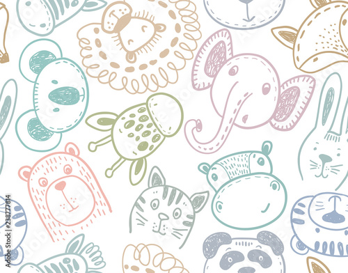 Photo Seamless pattern with cute animal heads, endless background