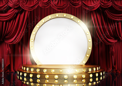 Fotografia Theater stage with red velvet curtains and golden decorative scene