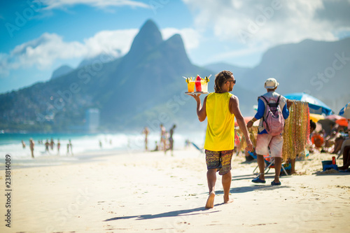 Canvas Print Scenic afternoon view of Ipanema Beach with Two Brothers Mountain in Rio de Jane