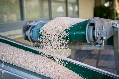 Conveyor belt with salt.