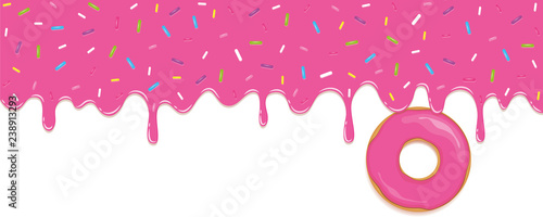 pink sweet melting icing with colorful sprinkles and pink donut vector illustration EPS10