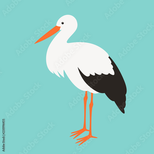 Carta da parati stork stends, vector illustration ,flat style