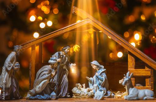 Obraz na plátně Christmas Manger scene with figurines