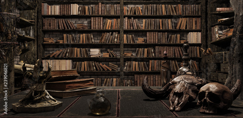 Fotografia the wizard's room with library, old books, potion, and scary things 3d render 3d
