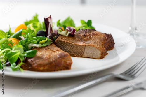 boston pork butt with fresh salad