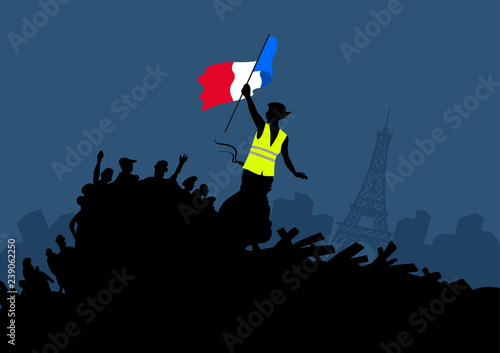 Yellow vests protest movement graphics on cityscape and Eiffel tower Fototapet