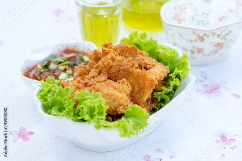 Fried Chicken and Spicy Thai Sauce (Lap Kai Tod)