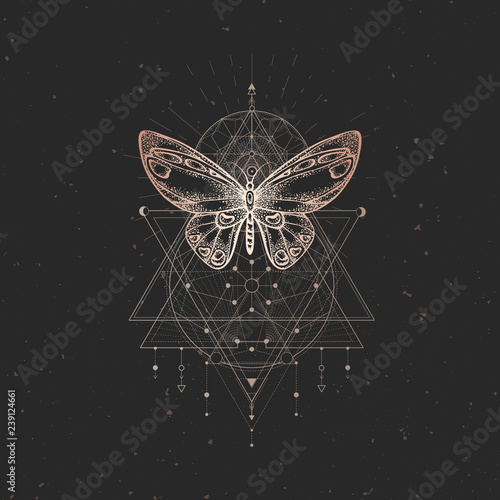Fototapeta Vector illustration with hand drawn butterfly and Sacred geometric symbol on black vintage background
