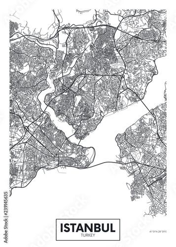 Fotografie, Obraz City map Istanbul, travel vector poster design