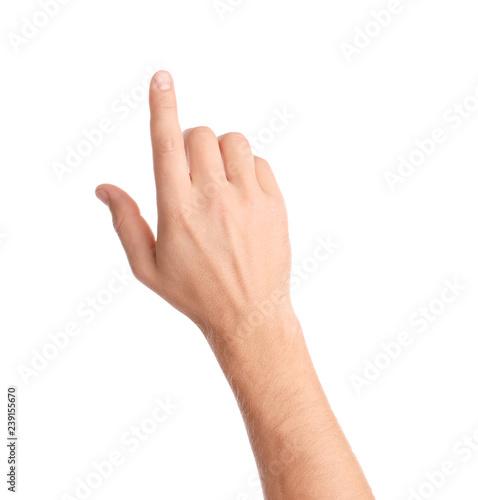 Slika na platnu Man pointing at something on white background, closeup of hand