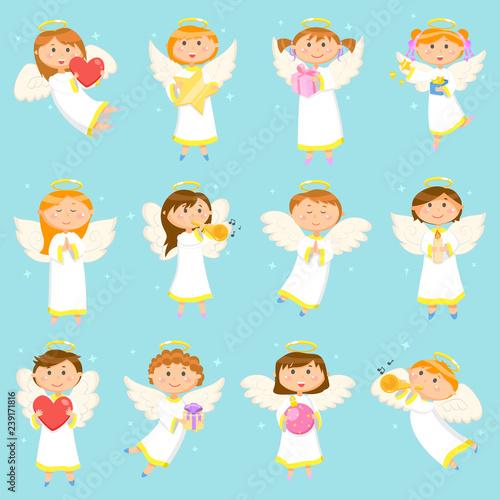 Stampa su Tela Angel Children, Boys and Girls Winter Holiday
