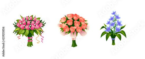 Obraz na płótnie Flowers bouquets set