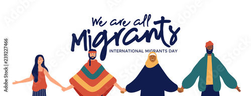 Valokuva Migrants Day banner of diverse people group