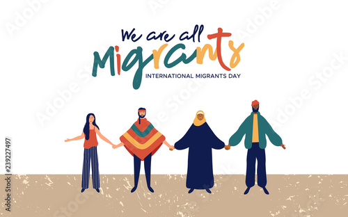 Valokuvatapetti Migrants Day diverse people group concept