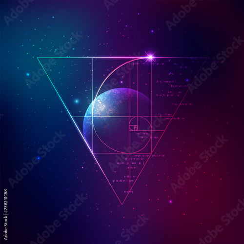 Fotografija concept of applied astronomy, graphic of golden ratio with outer space backgroun