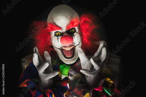 Billede på lærred Scary clown on a dark background
