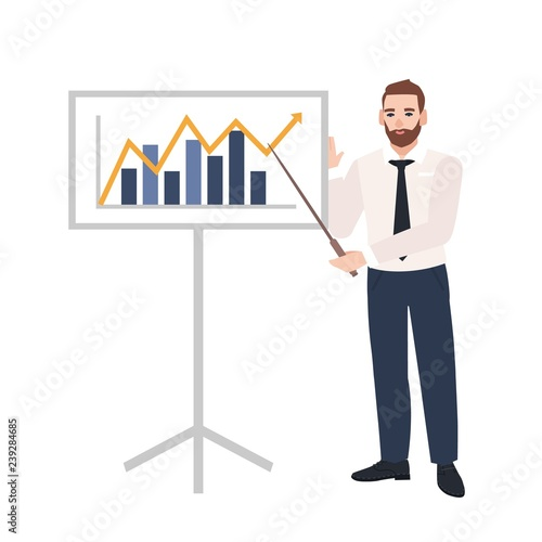 Wallpaper Mural Male office worker making presentation and demonstrating chart on board