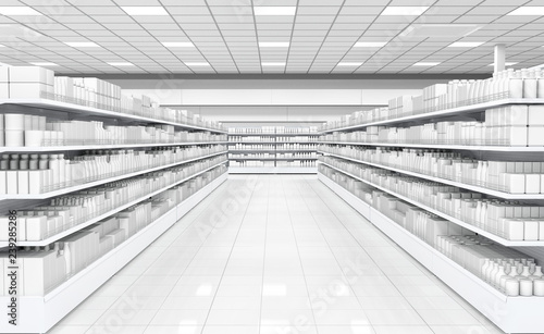 Canvastavla Interior of a supermarket with shelves with goods. 3d image