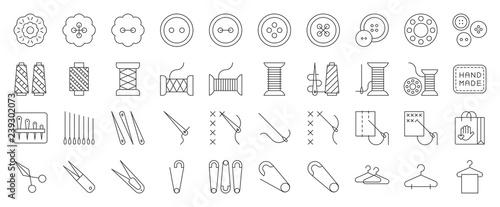 Obraz na plátne Sewing and handcraft elements icon. editable line design