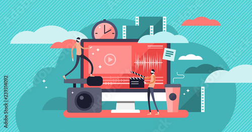 Fotografie, Obraz Video editor vector illustration, flat mini person concept with online video pro