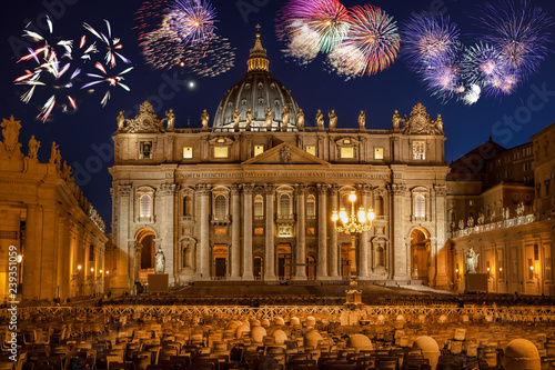 Vászonkép Basilica di San Pietro with firework, Rome, Vatican, Italy