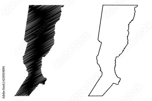 Fototapeta premium Ilustracja wektorowa mapa Santa Fe (region Argentyny, Republiki Argentyńskiej, prowincji Argentyny), szkic bazgroły Mapa prowincji Santa Fe