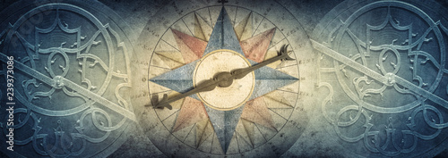Old compass and Astrolabe - ancient astronomical device on vintage background. Abstract old conceptual background on history, mysticism, astrology, science, etc. Retro style.