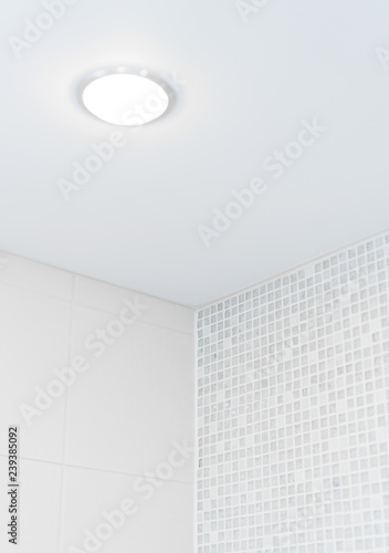 Photo Stretch ceiling in the bathroom with mosaic.