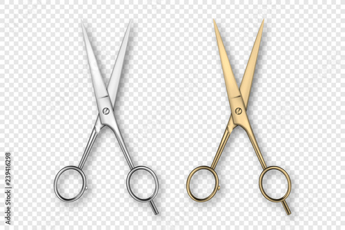 Canvas Print Vector 3d Realistic Silver and Gold Metal Opened Stationery Scissor Icon Set Closeup Isolated on Transparency Grid Background