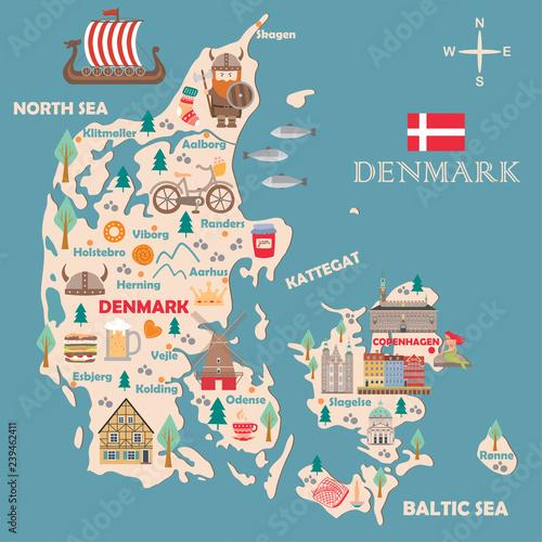 Wallpaper Mural Stylized map of Denmark