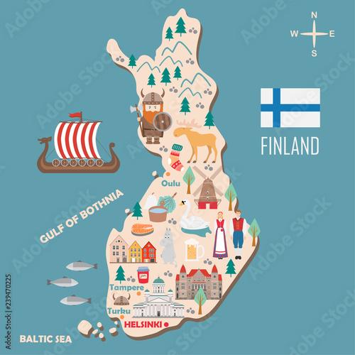 Photo Stylized map of Finland
