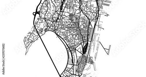 Fototapeta Urban vector city map of Mumbai, India