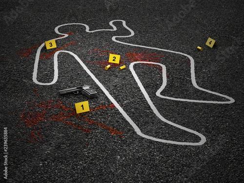 Valokuva Crime scene of a murder case. 3D illustration