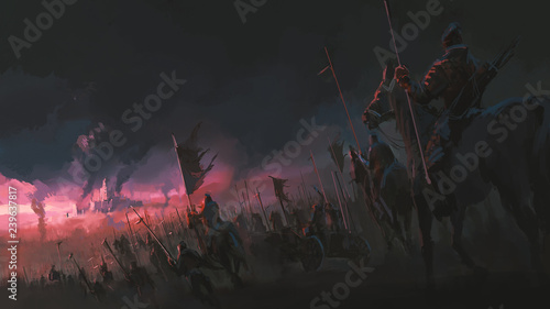 Vászonkép The pressure of the army, ancient war scenes, digital painting.
