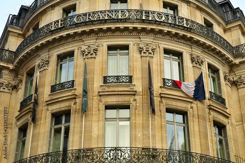 Leinwand Poster Paris; France - december 22 2017 : Grand Hotel on Capucines boulevard