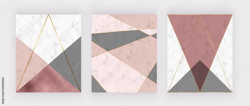 Marmurowy wzór geometryczny z różowym i szarym trójkątem, fakturą różowej folii, liniami wielokątnymi. Nowoczesne tło na zaproszenia ślubne, baner, karta, ulotka, plakat, zapisać datę <span>plik: #239665864   autor: Millaly</span>