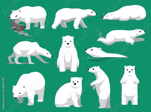 Fototapeta premium Niedźwiedź polarny jedzenie foki ilustracja kreskówka wektor