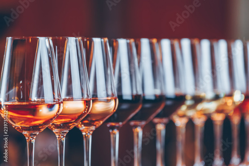 Wine glasses in a row Fototapeta