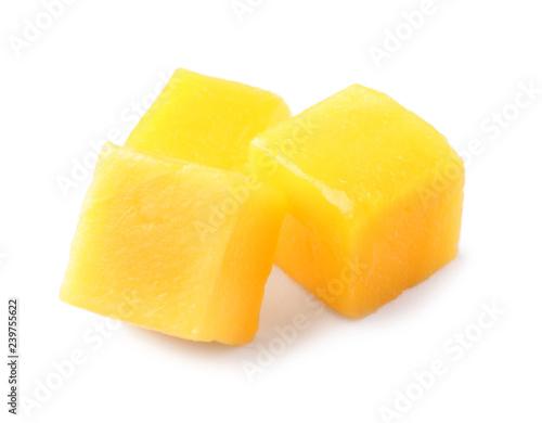 Fresh juicy mango cubes isolated on white