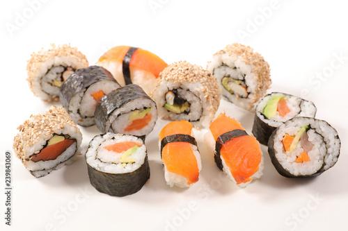 Valokuvatapetti selection of sushi and maki