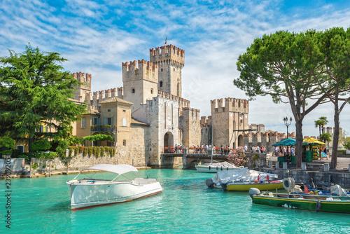 Fotografie, Obraz Rocca Scaligera castle on the island of Sirmione, lake Garda, Italy